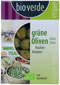 Grüne Oliven ohne Stein mariniert mit frischen Kräutern