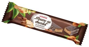 Bio-Mousse au chocolat-Riegel mit Zartbitter-Schokolade überzogen