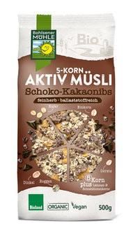 5-Korn Aktiv Müsli Schoko-Kakaonibs