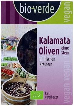 Schwarze Kalamata-Oliven ohne Stein mariniert mit frischen Kräutern