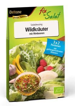 Salatfix Wildkräuter mit Himbeeren