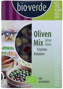 Oliven-Mix ohne Stein mariniert mit frischen Kräutern