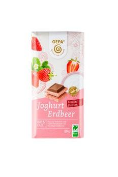 Bio Weiße Joghurtschokolade mit Erdbeerpulver und Vollmilchschokolade